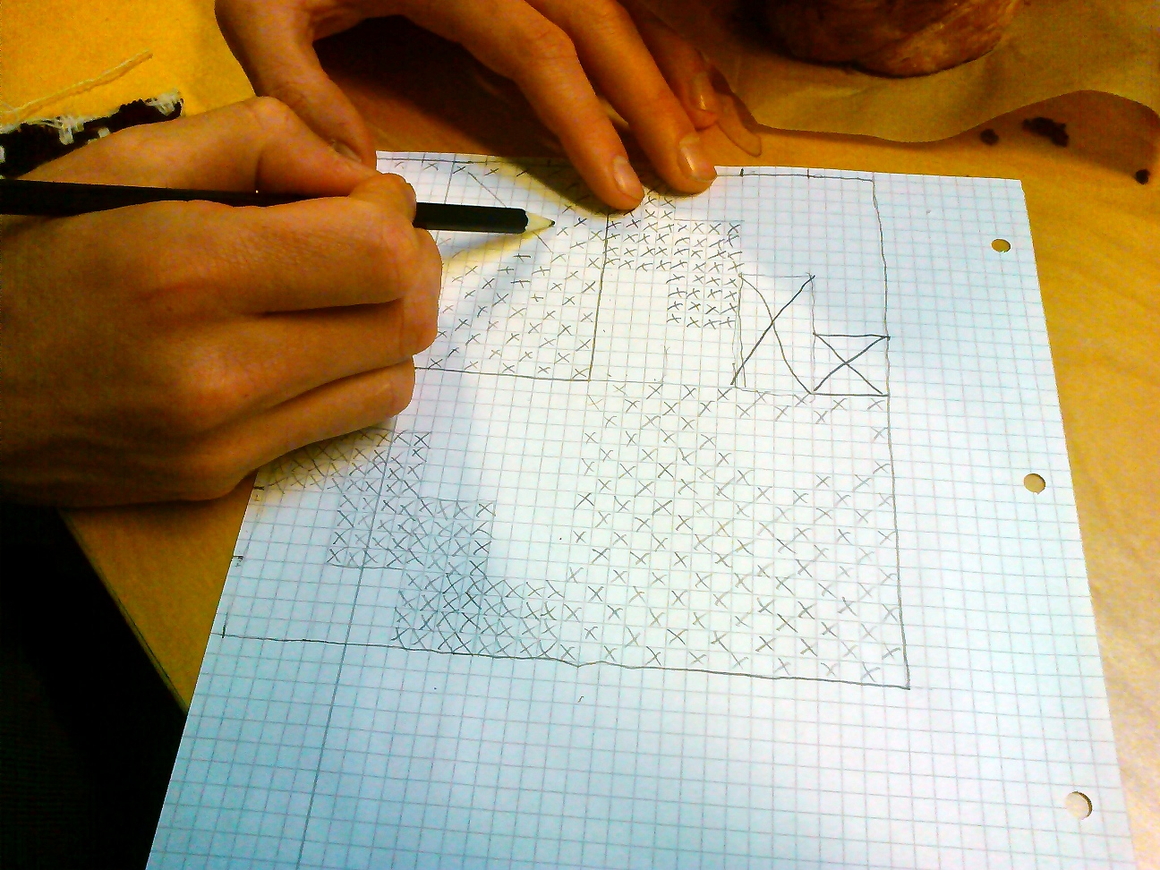 Alex recording warp crossings on graph paper
